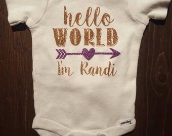 Hello World Personalized Baby Onesie coming home outfit shower gift Glitter