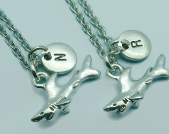 Shark BFF charm necklaces, best friend necklaces, mother daughter, sister, matching necklaces, double necklace set, shark gift
