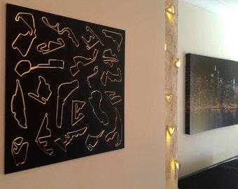 Formula 1 Grand Prix circuits inspired wall art - 480mm Sq.