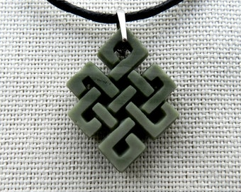 Celtic Knot Stone carving Necklace from ofiokaltsit Stone pendant