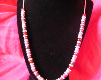 Red and purple pearl and swarovski necklace