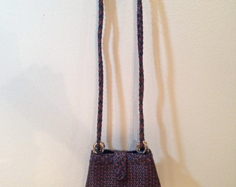 Braided Leather Purse, Woven Leather Shoulder Bag