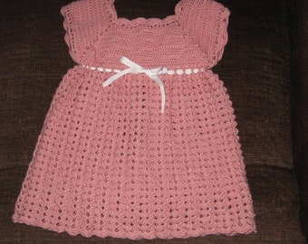 hand crocheted baby girl dress size 6 to 9 months