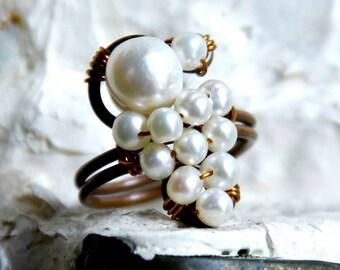 Handmade Ring w/ Pearls