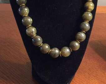 Olive Green Beaded Necklace Set