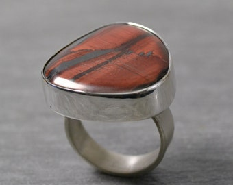 Red Tiger Eye Ring, Size 9, Sterling Silver, Modern Themed Ring, Contemporary Design, Handmade Ring by JustMOD