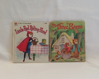 Whitman Tell-A-Tale Children's Book Set of 1964 Little Red Riding Hood and 1968 The Three Bears