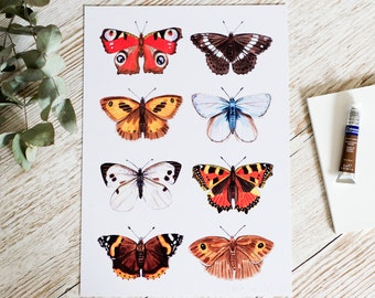 British Butterflies A4 Signed Print