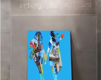 Metal wall art decor, Mixed media collage art,  Pop art painting, Original Acrylic Painting, Ready to hang art, Living Room Decor, Metal art