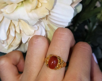 Agate Gold Ring Agate Ring Gemstone Jewelry in 14k Yellow Gold