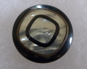 Vintage coat button - pearly, brown - 27 mm