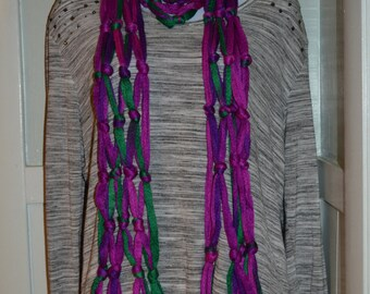 Jazzberry Purple and Green Handmade Crochet Long Knotted Fashion Winter Scarf, Ladies Winter Accessories. Crocheted Scarf.
