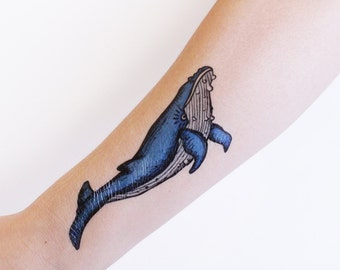 Blue Whale Temporary Tattoo, Ocean Tattoo, Nature Tattoo