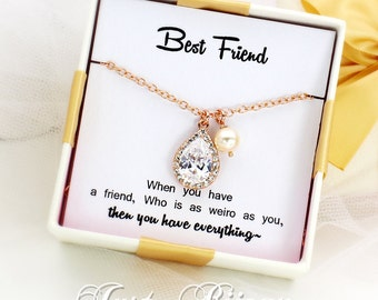 Wedding Necklace Swarovski Pearl Zirconia Necklace Best Friend Gift for Her Bridesmaid Gift Wedding Necklace Bridal Necklace Jewelry