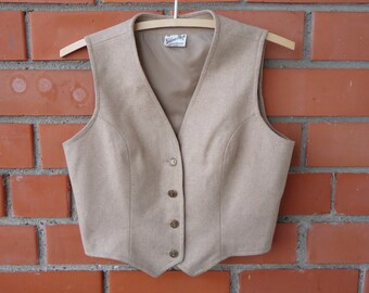Women's Vest Sand Beige Vest Womens Waistcoat Fitted Waistcoat Wool Blend Vest Cropped Vest Renaissance Baroque Edwardian Victorian Medium