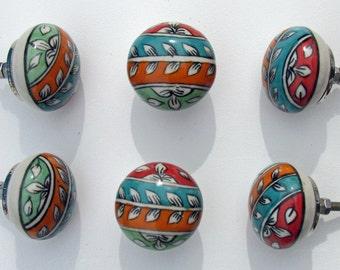 Ceramic Knobs, Set of 6, 'Colorvine', Colorful, Decorative Ceramic Knobs, Dresser Knobs, Drawer Pulls, Cabinet Knob, Closet Pull, Door Knob
