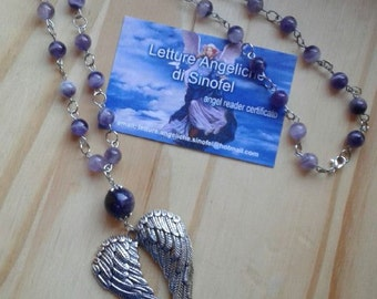 AMETHYST amulet necklace with heart-shaped Angel Wings