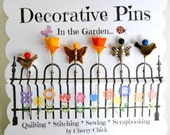 Decorative Sewing Pins - Garden Pins - Quilt Pins - Flower Pins - Scrapbooking Pins - Gift for Sewers - Bulletin Board Pin - Push Pin