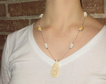 Beaded Illusion Necklace - Carved Pendant