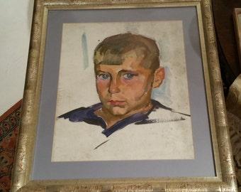 Vintage Framed pastel painting Child Portrait framed painting  1970's