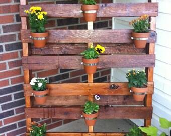 Flower planter made from reclaimed pallet