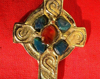 Celtic cross, brass locket