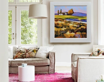 """Original landscape painting 32""""32"""", Little symphony of the uncultivated by Antonello Plantamura. Express Shipping"""