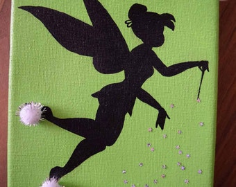 Tinkerbell with pom pom slippers Original Canvas Painting 7x5 inches
