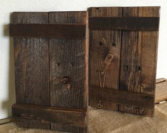 Rustic wood shutters-Decorative shutters-Farmhouse shutters-Reclaimed wood shutters-Interior shutters-Handmade shutters-Primitive shutters