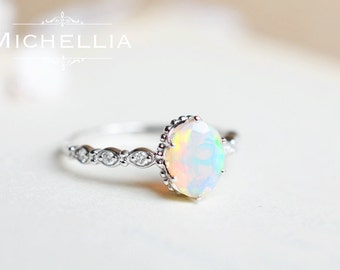white gold opal engagement ring with diamond 14k or 18k solid gold ethiopian fire opal - Opal Wedding Ring