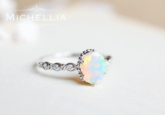 White Gold Opal Engagement Ring with Diamond, 14K or 18K Solid Gold  Ethiopian Fire Opal