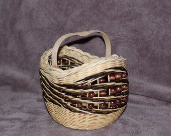 Handwoven, Rustic, Beaded, Small Market Basket, Natural and Hand Dyed Wicker and Reed Basket