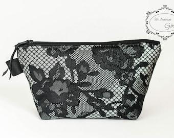 Zipper pouch, cosmetic bag, makeup bag, black lace fabric zipper bag