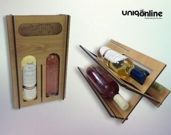 Wine wood box and display bottle