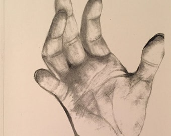 Original Art Graphite Drawing Print of Hand 8.5'' x 14''