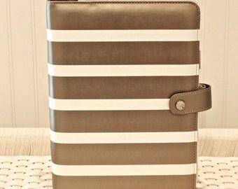 A5 Planner Binder, Copper Gold Stripe Notebook Binder, Planner Binder, Leather Binder, Recipe Binder, Cute Notebooks, Ring Binder, Journal