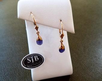 Iolite Earrings, Iolite Dangle Earrings, 14k Yellow Gold Iolite Leverback Earrings, Genuine Iolite Earrings, Blue Gemstone Earrings, #E977