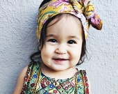 Fall Block Print Soft Cotton Head wrap, baby head wrap, kids head wrap, kids turban, baby turban, baby bow headband, hippie kids head wrap