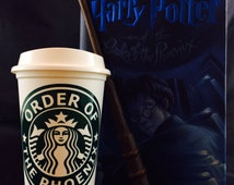 "Harry Potter inspired ""Order of the Phoenix"" Starbucks Travel Cup"