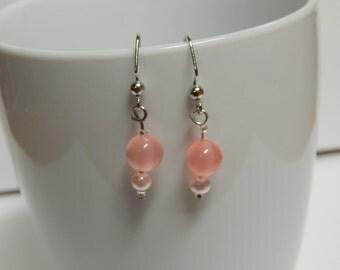 Pearly Pink Drop Down Earrings