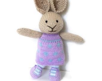 Plush Bunny, Bunny Doll, Stuffed Bunny, Girl Bunny, Wool Toy, Knit Toy, Handmade Toy, Stuffed Animal, Soft Toy, Baby Girl Gift, Bunny Rabbit