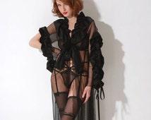 Emmanuel 3260 Silk Black Peignoir, Homewear, Sleepwear | by VIPA