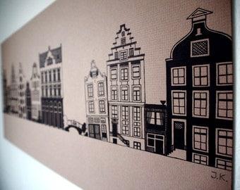 Big Drawing of Dutch Canal Houses - an original handmade artwork, illustration, wall art, home decor, 28*59cm