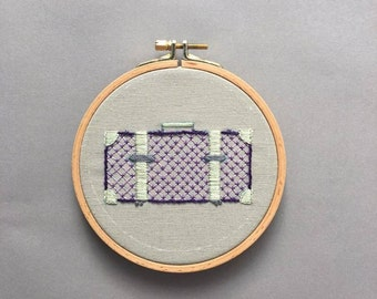 Hand embroidered suitcase hoop, wall art