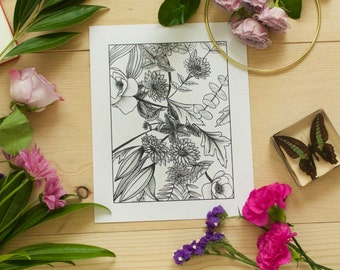 Flower Ink Drawing, Floral Art Print #7 - 8x10