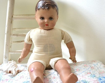 vintage antique large composite sleepy eye baby doll collectible soft body doll