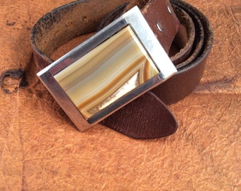 Onyx Buckel with Leather Belt 38""