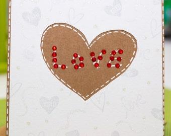 FREE SHIPPING***just love handmade valentine card