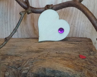 Wooden Heart Brooch