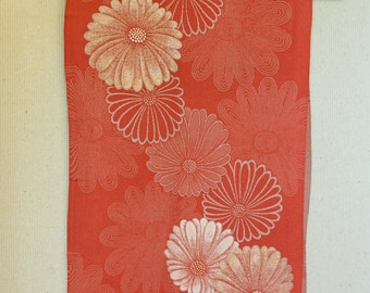 White chrysanthemums on orange, vintage Japanese kimono silk